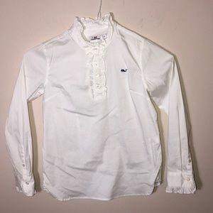 Vineyard Vines White Ruffle Shirt Girls 10